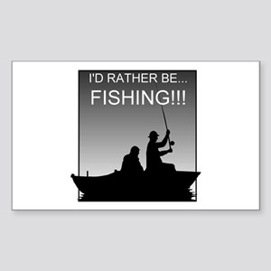 I'd Rather Be Fishing!!! Rectangle Sticker