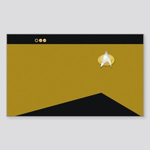 Star Trek: TNG Gold Lt. Cmdr. Sticker (Rectangle)