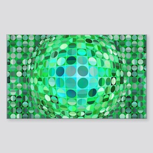 Optical Illusion Sphere - Gree Sticker (Rectangle)