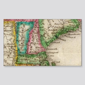 Vintage Map of New England (1822) Sticker