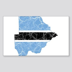 Botswana Flag And Map Sticker (Rectangle)