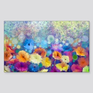 Floral Painting Sticker (Rectangle)