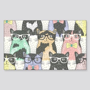 Hipster Cats Sticker (Rectangle)