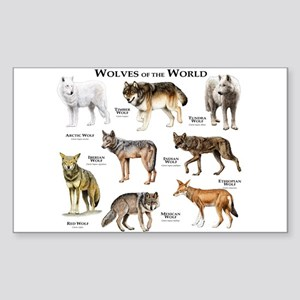 Wolves of the World Sticker (Rectangle)