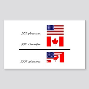 Half Canadian Half American completely awe Sticker