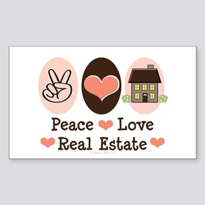Peace Love Real Estate Agent Rectangle Sticker
