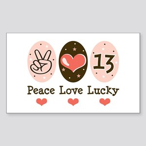 Peace Love Lucky 13 Rectangle Sticker