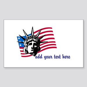Personalized Liberty and Flag Sticker (Rectangle)