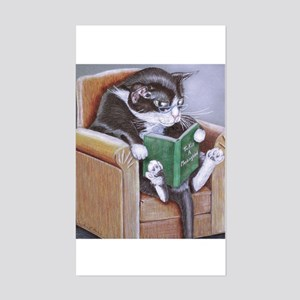 Reading Cat Sticker (Rectangle)