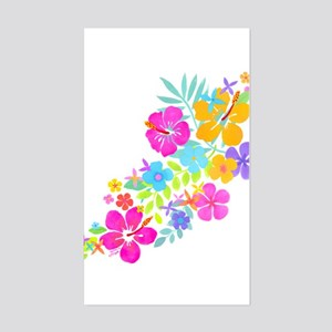 Tropical Flowers Sticker (Rectangle)