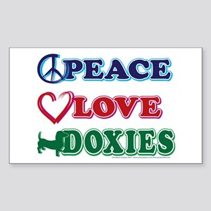 Peace Love Doxies - Dachshunds Sticker (Rectangle)