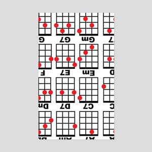 Uke Chord Cheat White Sticker (Rectangle)