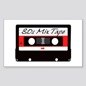 80s Music Mix Tape Cassette Sticker (Rectangle)