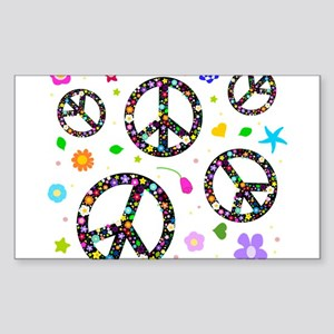 Peace symbols and flowers pat Sticker (Rectangle)
