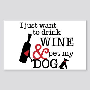 Wine and Dog Sticker (Rectangle)