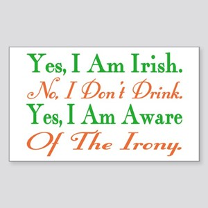 Ironic Sober Irish Rectangle Sticker