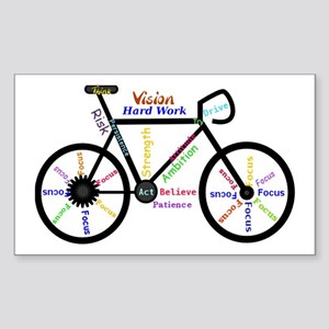 Bike made up of words to motiv Sticker (Rectangle)
