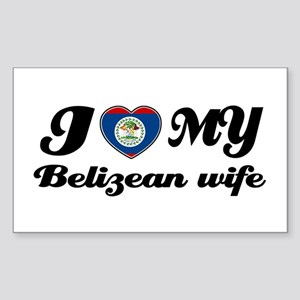 I love my Belizean Wife Rectangle Sticker