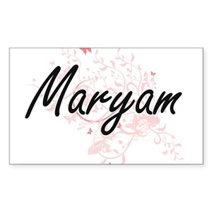 Maryam Artistic Name Design with Butterfli Sticker