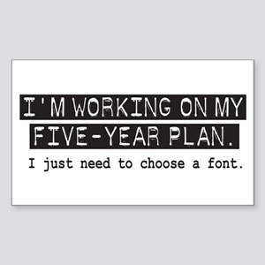 Five Year Plan (white) Rectangle Sticker