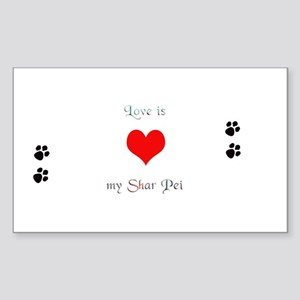 Shar Pei Love Rectangle Sticker