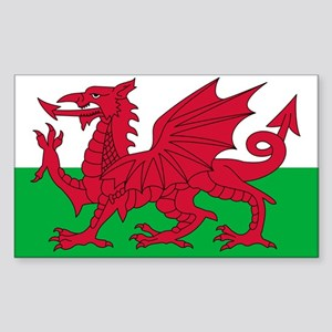 Welsh flag of Wales Rectangle Sticker