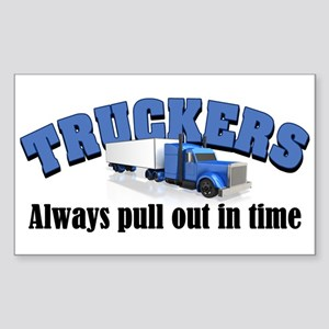 Truckers Pull Out in Time Sticker (Rectangle)