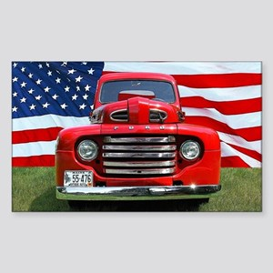 1948 Red Ford Truck USA Flag Sticker (Rectangle)