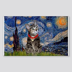 Starry Night / Tiger Cat Rectangle Sticker