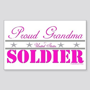 Proud Grandma of a Soldier Rectangle Sticker