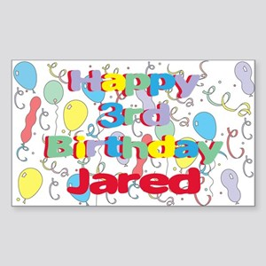 Jared's 3rd Birthday Rectangle Sticker