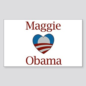 Maggie Loves Obama Rectangle Sticker