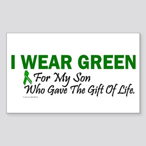 Green For Son Organ Donor Donation Sticker (Rectan