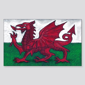 Wales Flag Sticker (Rectangle)
