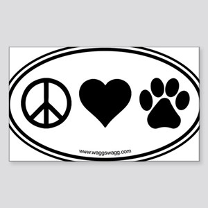Peace Love Paws Black Sticker (Rectangle)