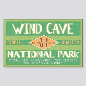 Wind Cave National Park (Retro) Sticker (Rectangul