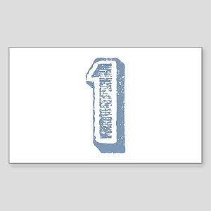 Blue Number 1 Birthday Rectangle Sticker