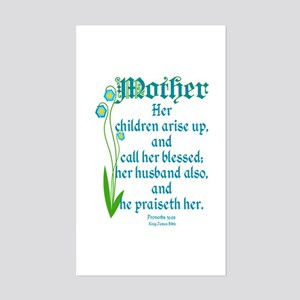 Proverbs 31:28 Flower Sticker (Rectangle)