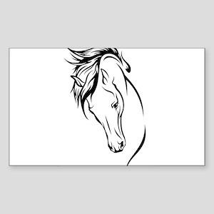 Line Drawn Horse Head Sticker (Rectangle)
