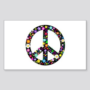 Hippie Flowery Peace Sign Sticker (Rectangle)