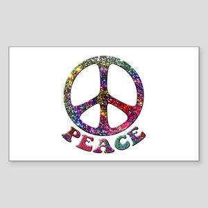 Jewelled Peace Symbol Sticker (Rectangle)