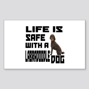 Life Is Safe With A Labradoodl Sticker (Rectangle)