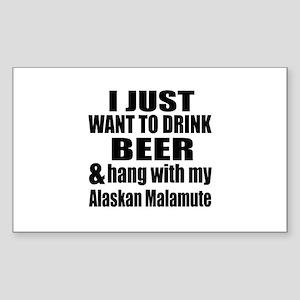 Hang With My Alaskan Malamute Sticker (Rectangle)