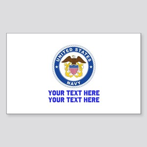 US Navy Sign Personalized Sticker (Rectangle)