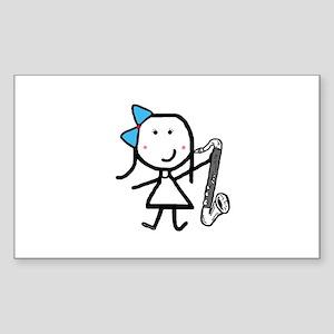 Girl & Bass Clarinet Sticker (Rectangle)