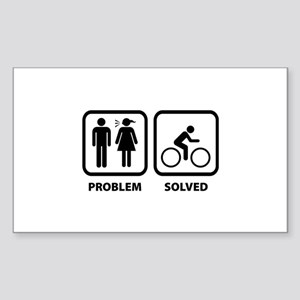Problem Solved Cycling Sticker (Rectangle)