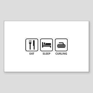Eat Sleep Curling Sticker (Rectangle)