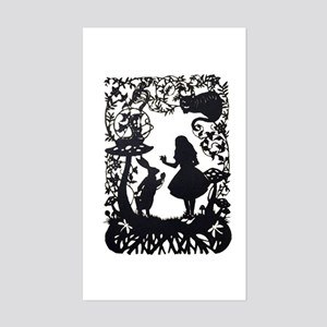 Alice in Wonderland Silhouette Sticker (Rectangle)