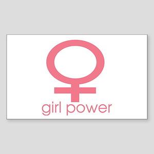 Girl Power Light Pink Rectangle Sticker