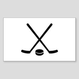 Hockey sticks puck Sticker (Rectangle)